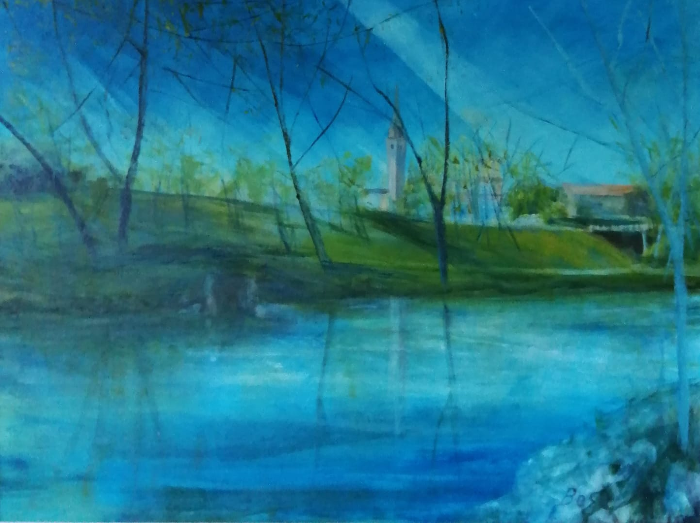 Scorcio del fiume Noncello - Olio su tela - 80 x 60